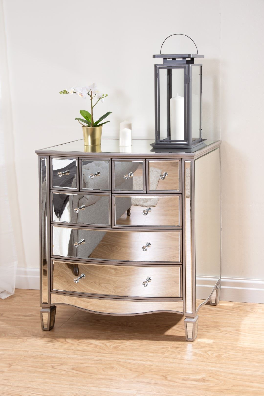 Birlea Elysee Mirrored Merchant Drawer Mirror Furniture Chest Crystal Handle