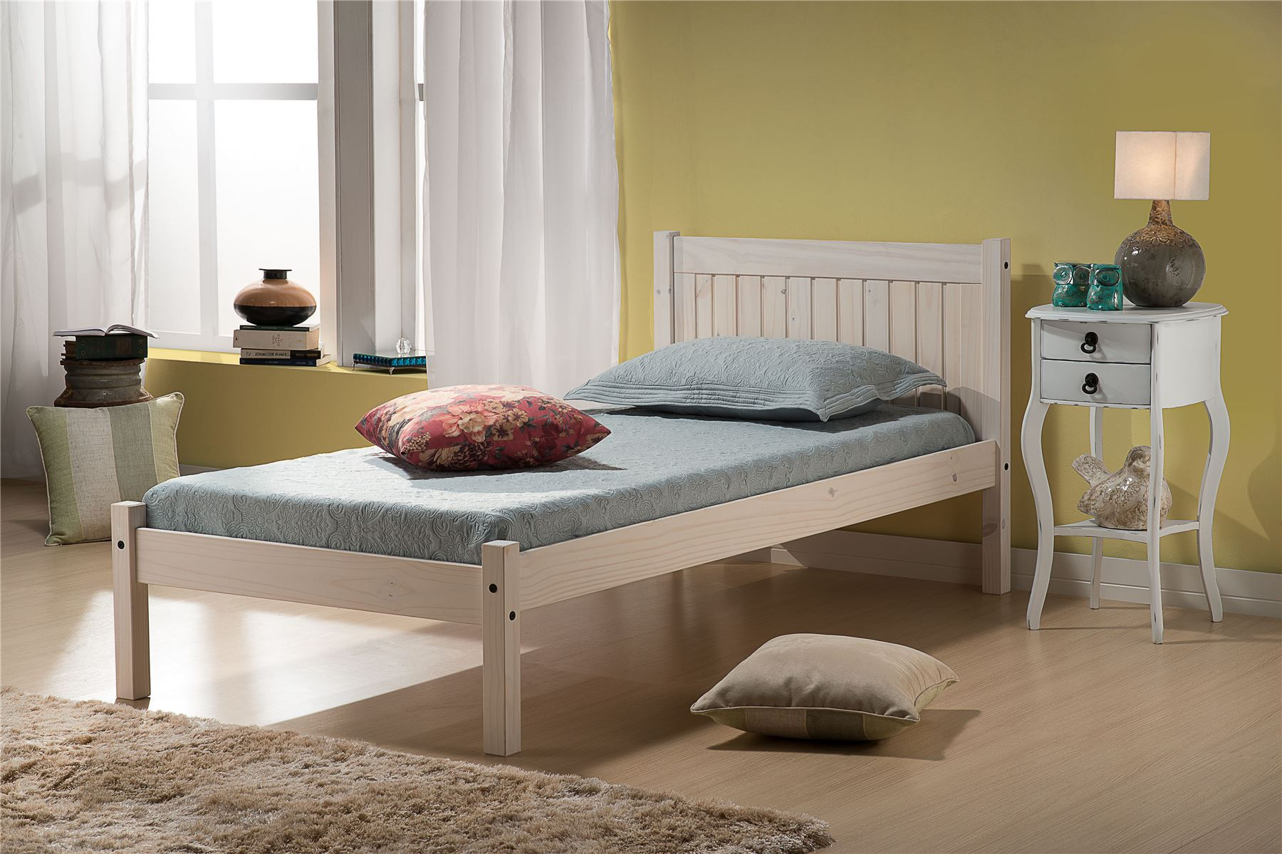 Birlea Corona Mexican Solid Wood White Rio 90cm Bedstead 3FT Single bed Frame