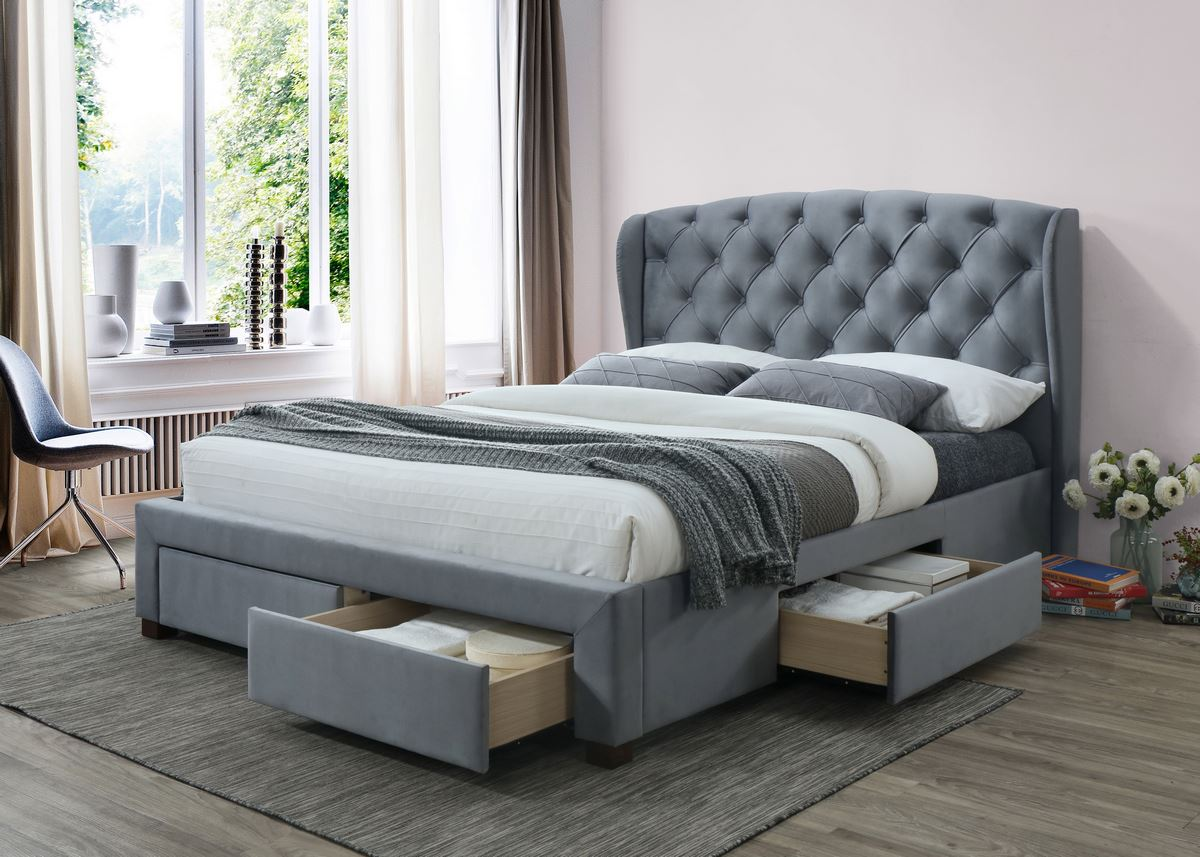 Birlea Hope Kingsize 5FT Bed Frame 150cm Wingback Storage Drawer Bed Grey Velvet