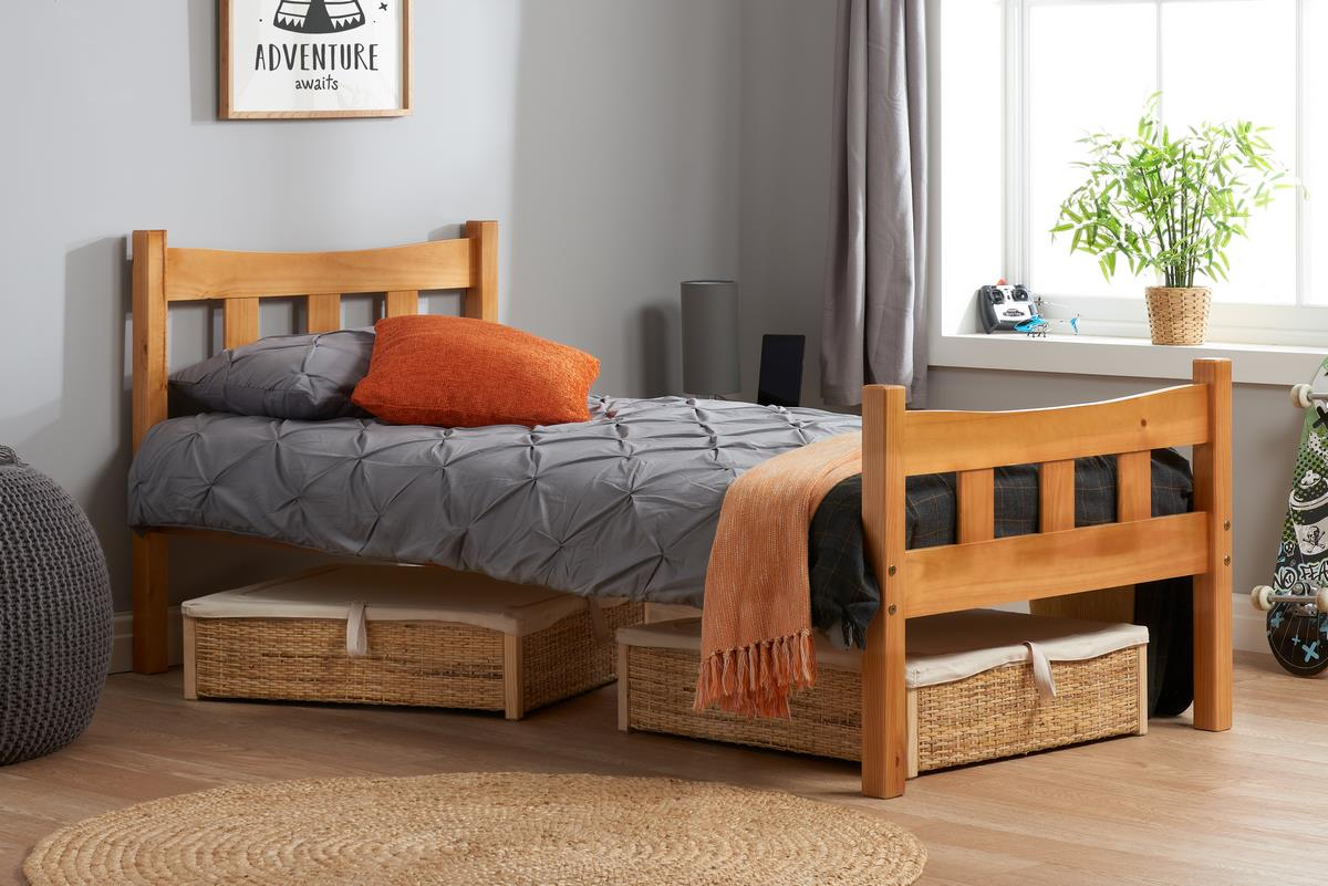 Birlea Miami Pine Bed Frame Single 3FT 90CM Solid Wood Bedstead