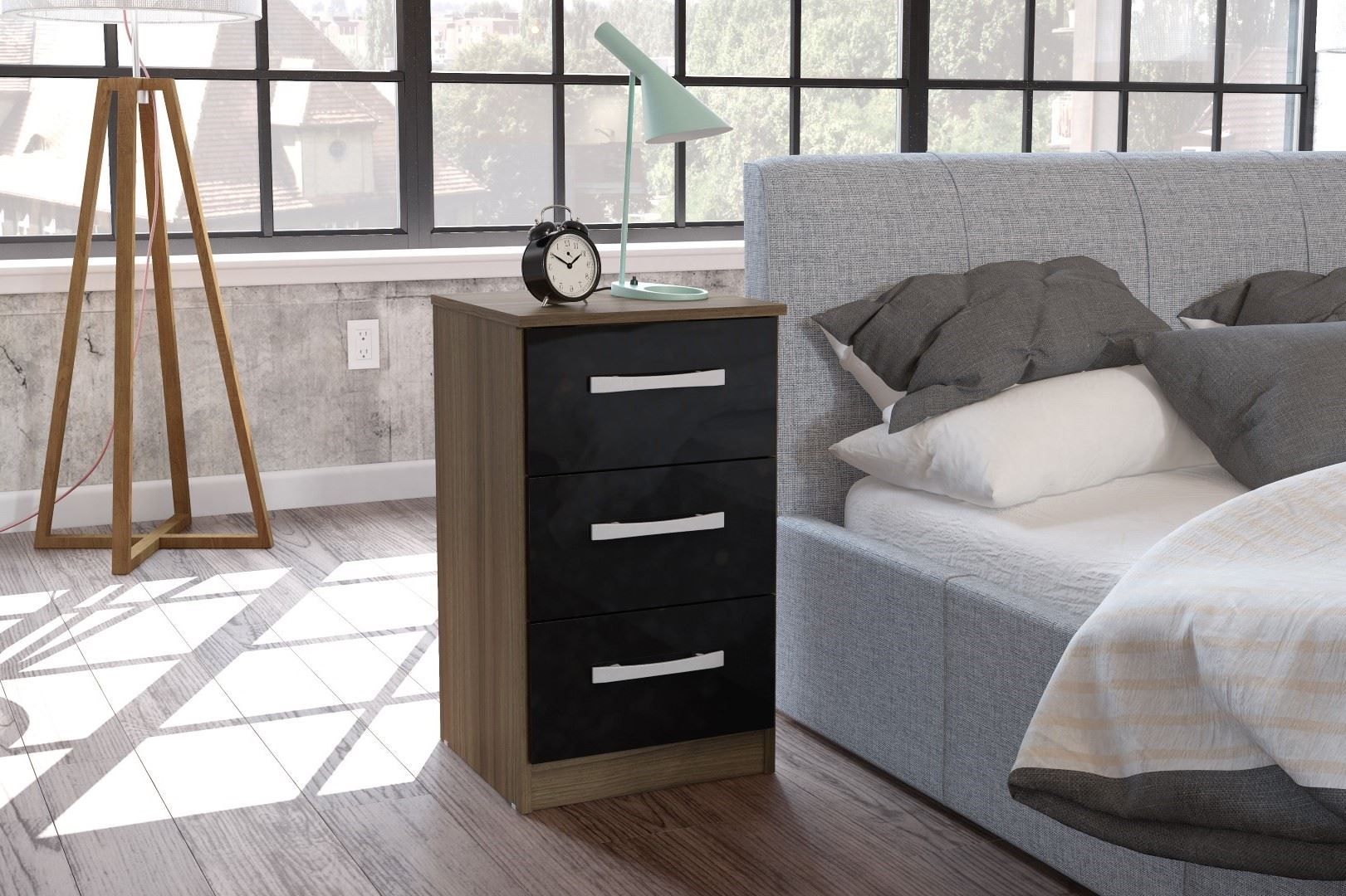 Lynx High Gloss Black and Walnut 3 drawer bedside chest of drawers new