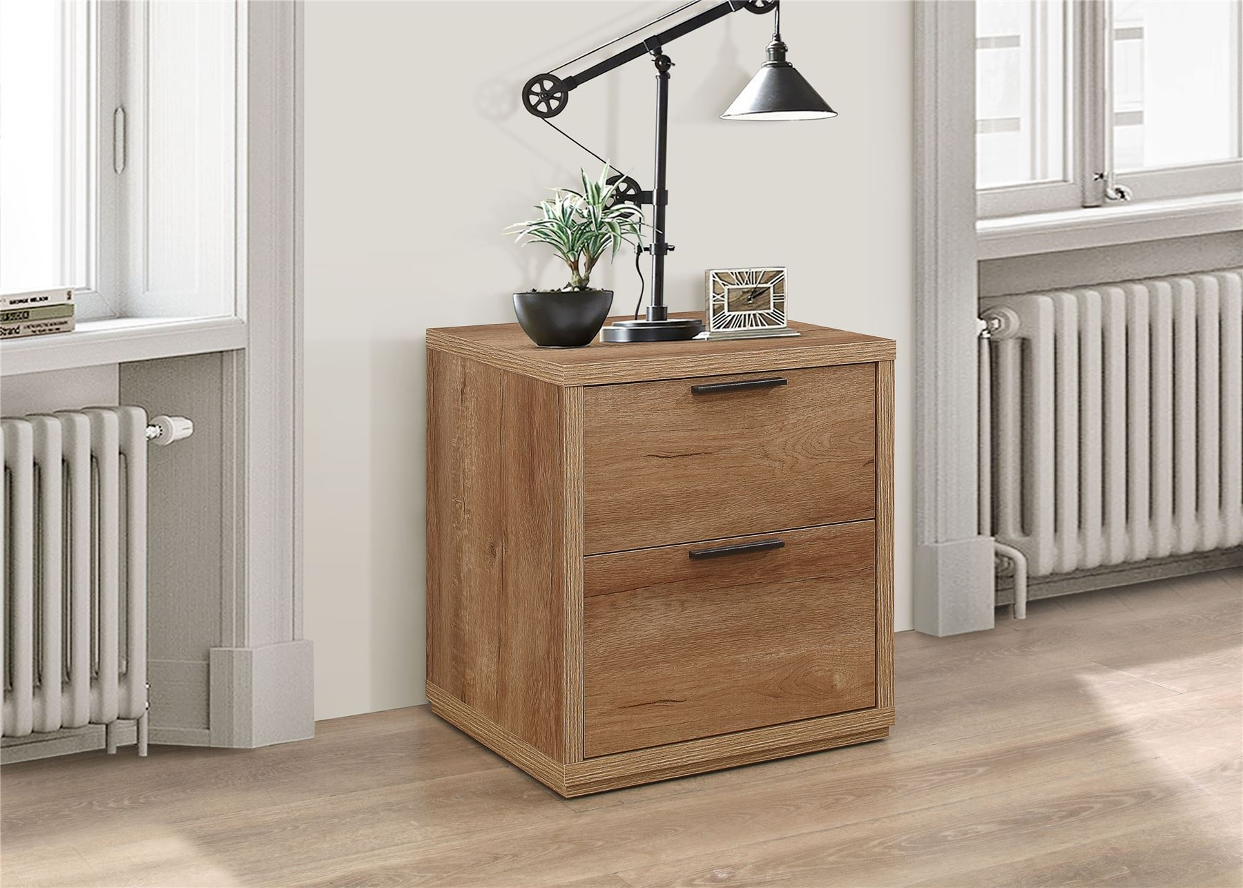 Birlea Stockwell Rustic Oak 2 Drawer Bedside Chest Urban Industrial design