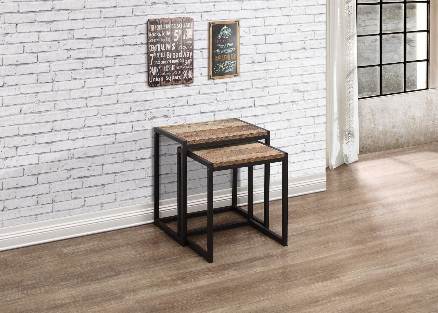 Birlea Urban Industrial Chic Nest of 2 Tables Rectangular Wood Black Metal