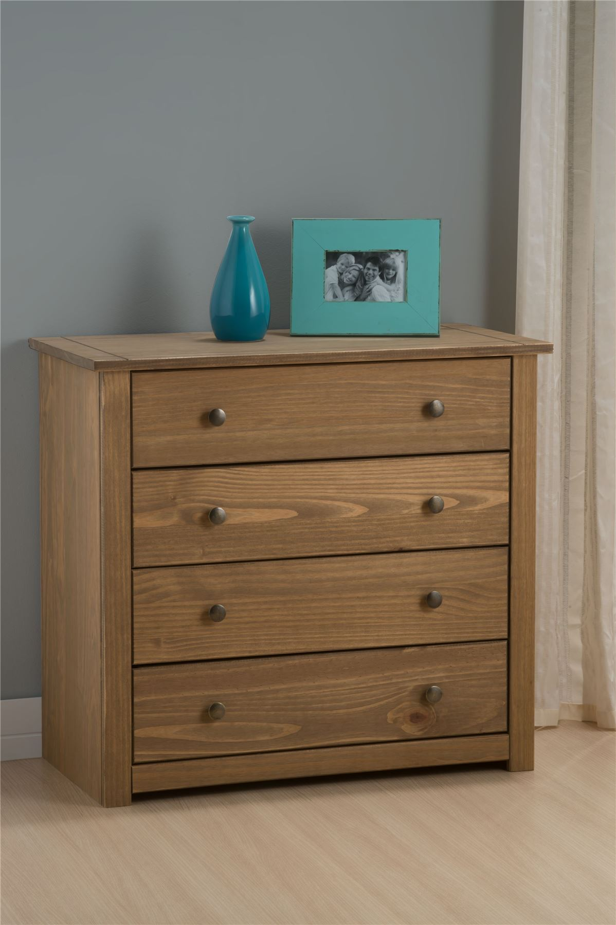 Birlea Santiago 4 Drawer Chest Drawers Corona Mexican Pine Solid Wood Furniture