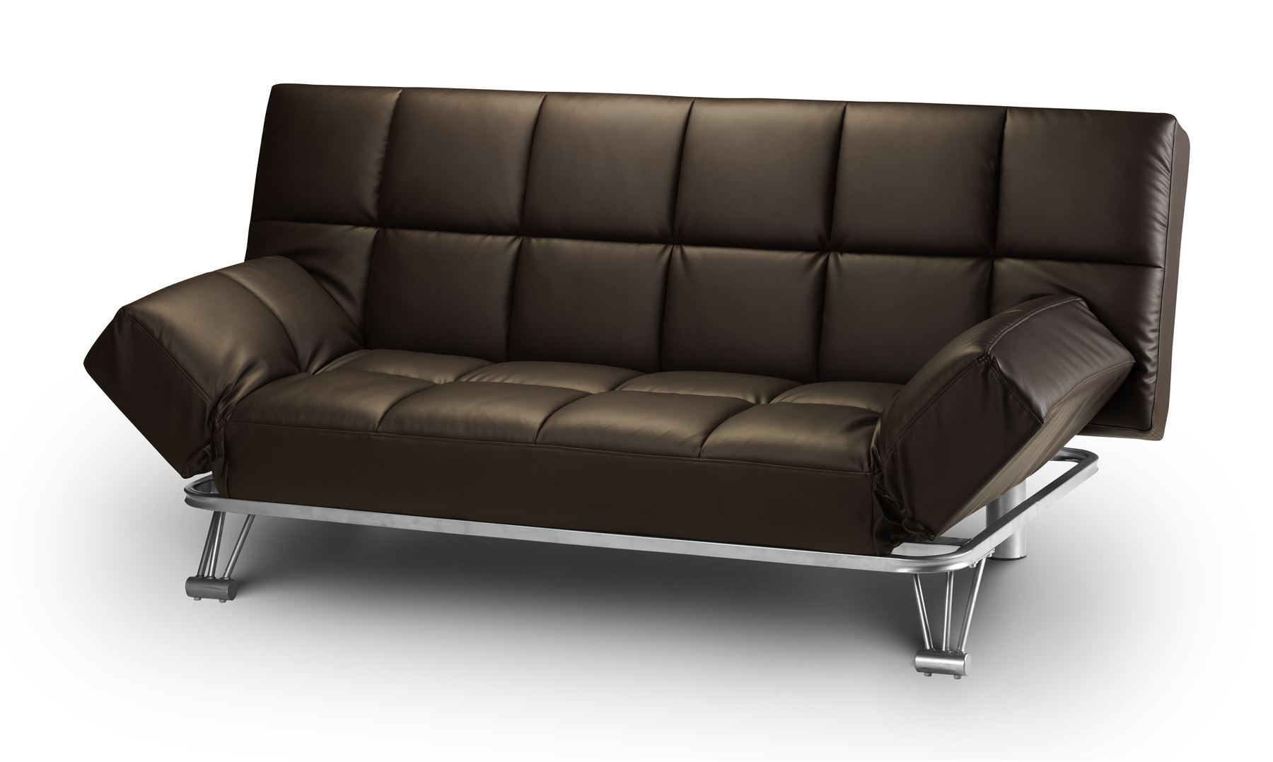Julian Bowen Manhattan Sofa Bed Settee Brown Faux Leather Modern Retro