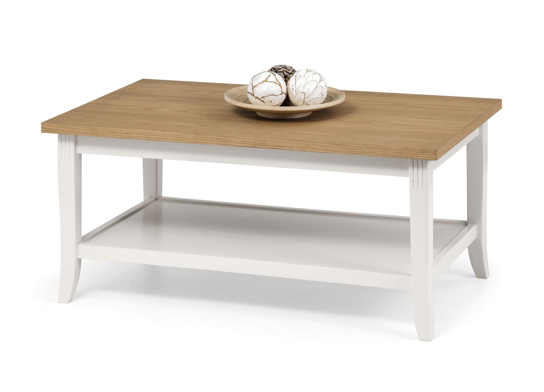 Julian Bowen Davenport Oak Ivory Coffee Table with shelf Solid Wood