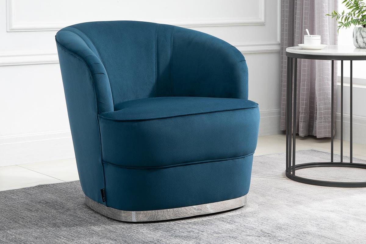 Birlea Cleo Easy Accent Arm Chair Blue Velvet Fabric Silver Vintage Design