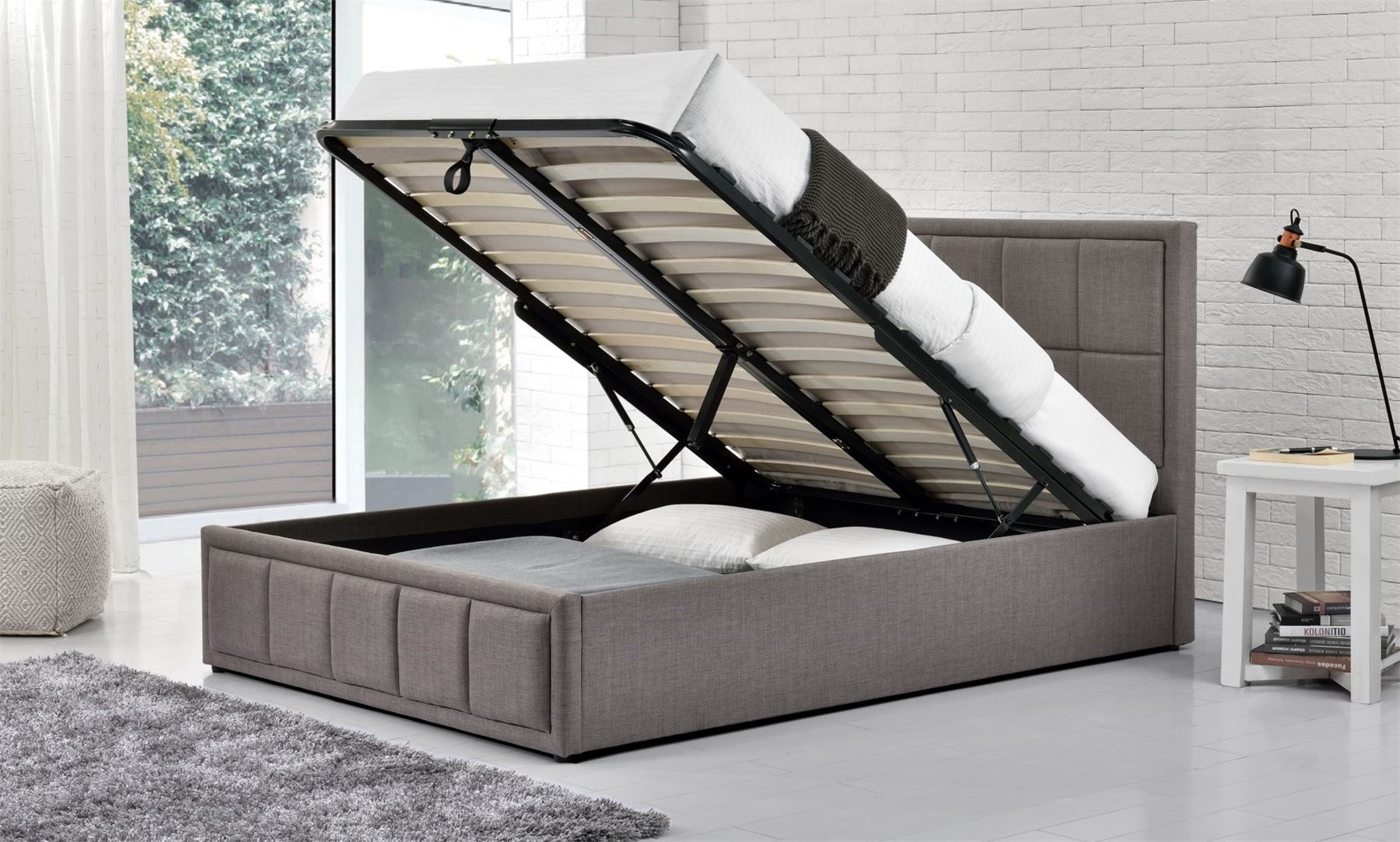Hannover Ottoman Bed Frame 4FT 120cm Small Double Bedstead Storage Grey Fabric