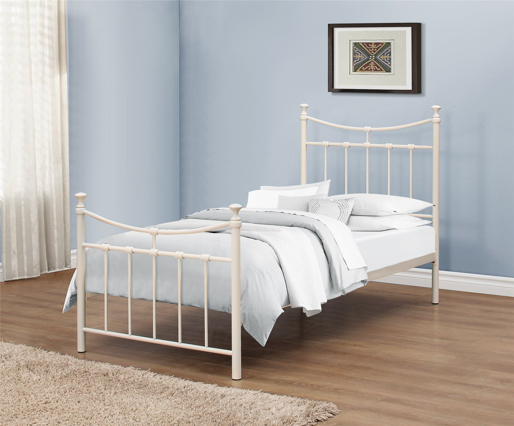 Emily 90cm 3ft Single Cream Ivory Metal Bed Frame Bedstead With Spring Base Www Robinsons Furniture