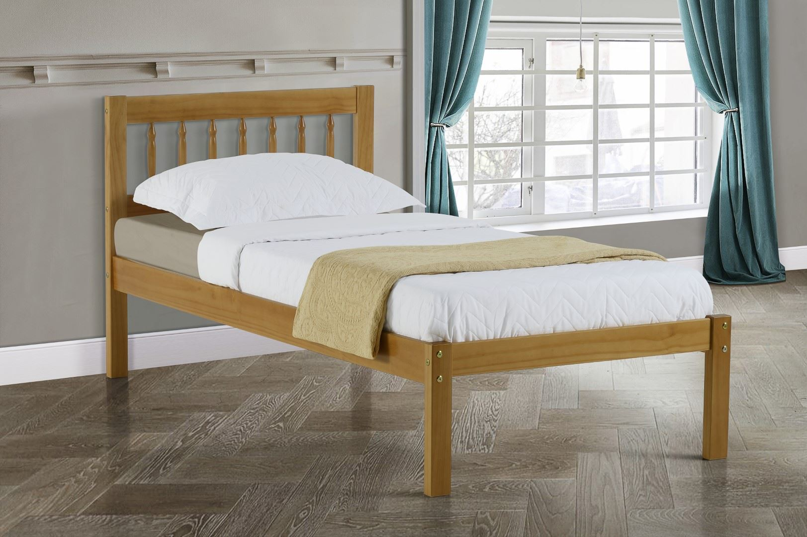 Birlea Santos Solid Pine Wood Bed 90cm 3FT Single Frame Colonial Design Bedstead