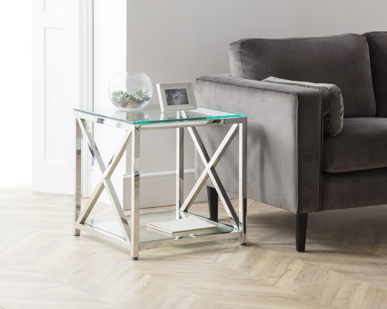 Julian Bowen Miami Square Lamp Table Chrome Glass Modern Design