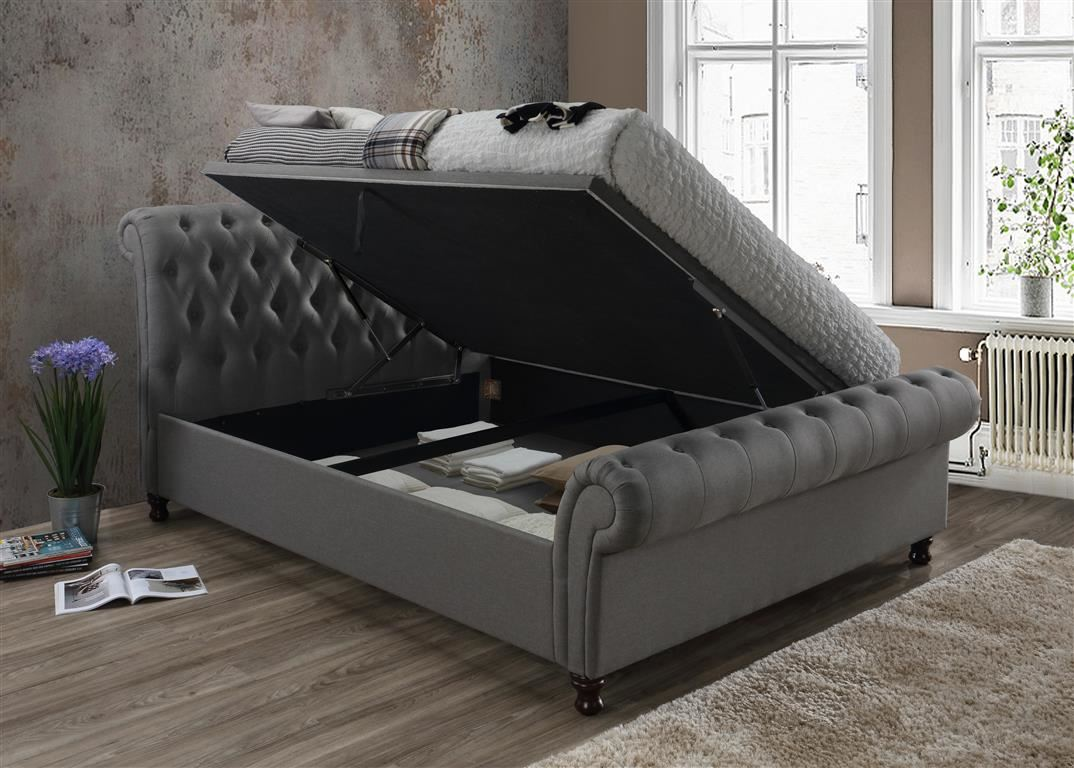 Castello Ottoman Storage Fabric 150cm 5FT Grey King Size Bed Frame