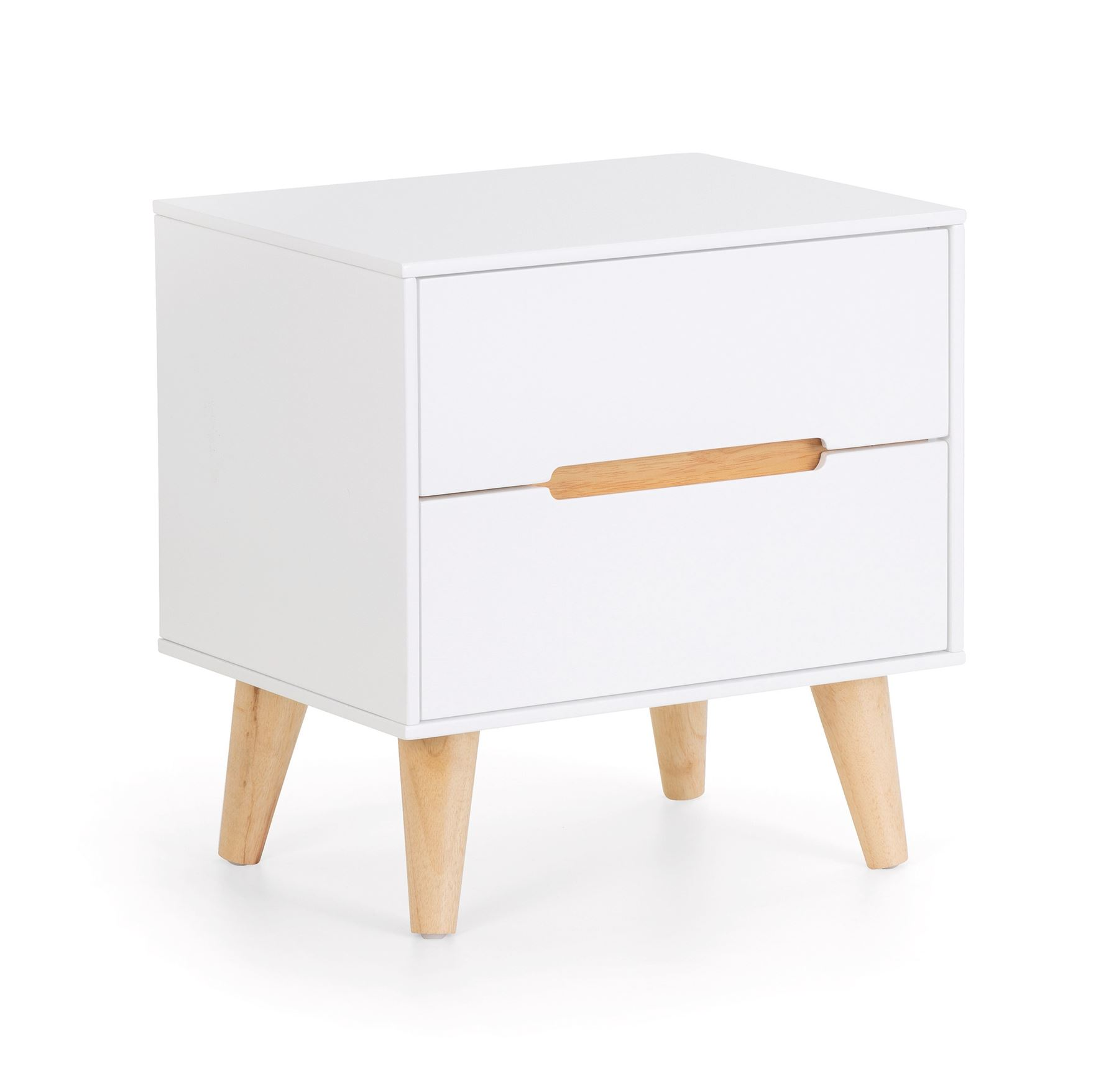 Julian Bowen Alicia 2 Drawer Bedside Chest Scandinavian Modern Retro White & Oak