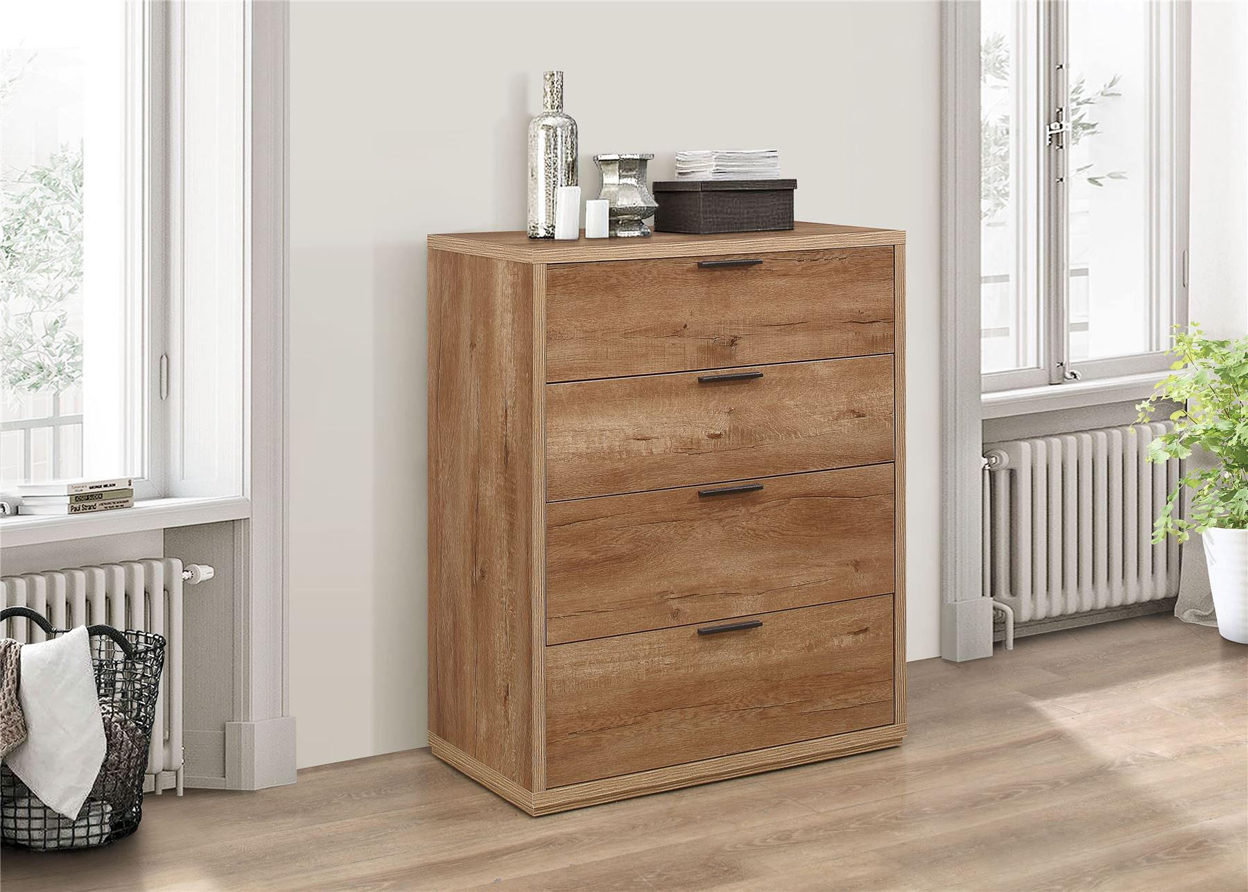 Birlea Stockwell Rustic Oak Chest of 4 Drawers Urban Industrial design
