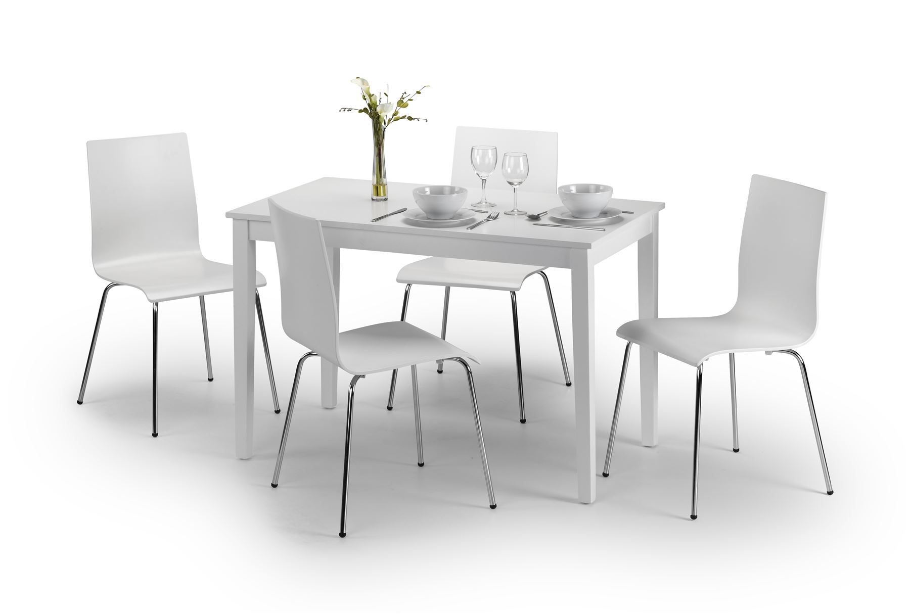 Julian Bowen Taku White Dining Table & 4 Wood Mandy Chairs with Metal Legs