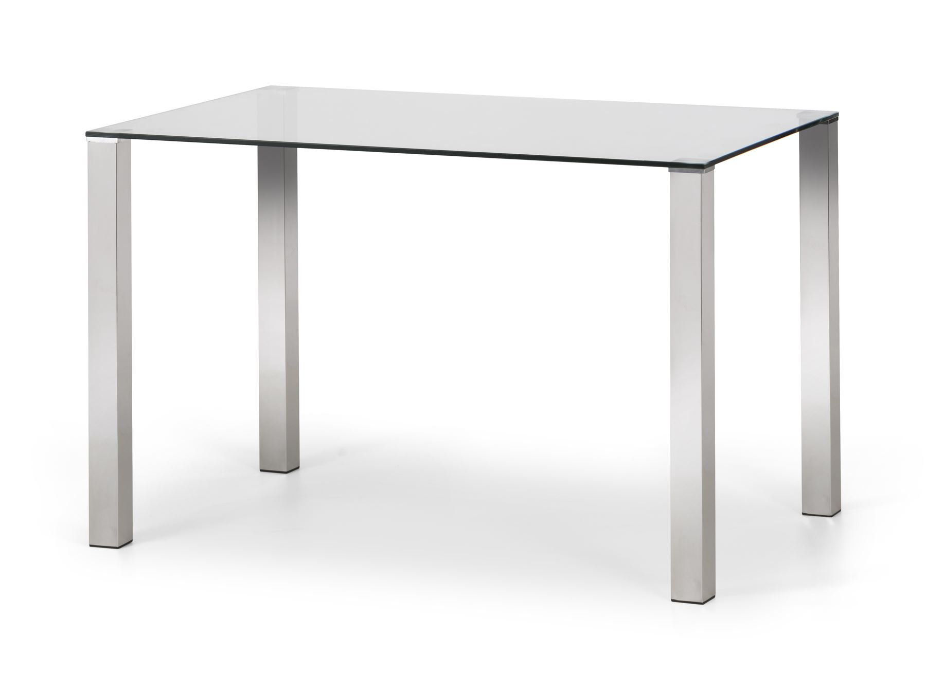 Picture of: Julian Bowen Enzo Glass Top Chrome Dining Table Rectangular 120cm Www Robinsons Furniture