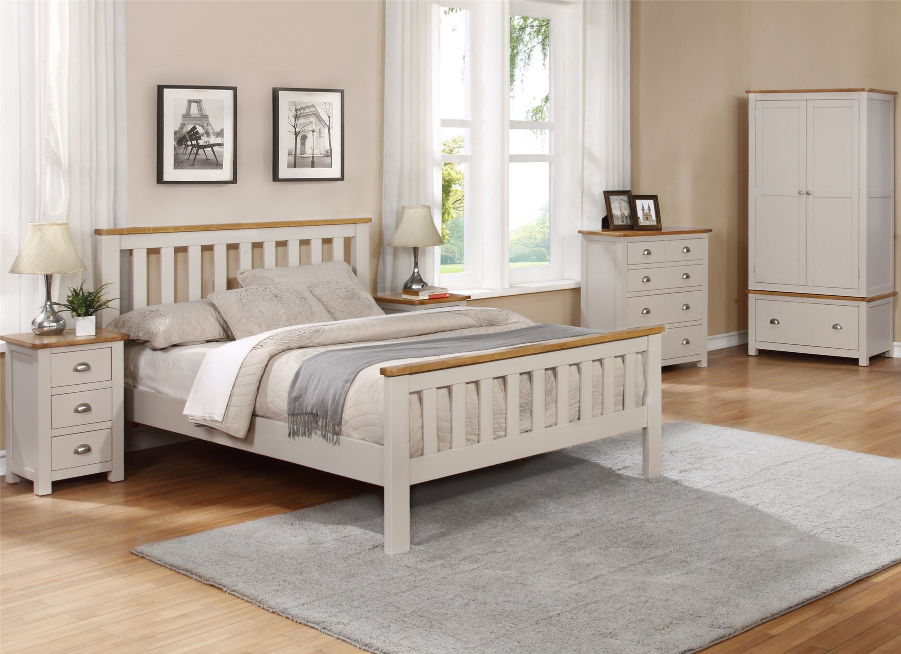 Sweet Dreams Cooper Classic Double 135cm 4FT6 Oak & Grey Solid Wood Bed Frame