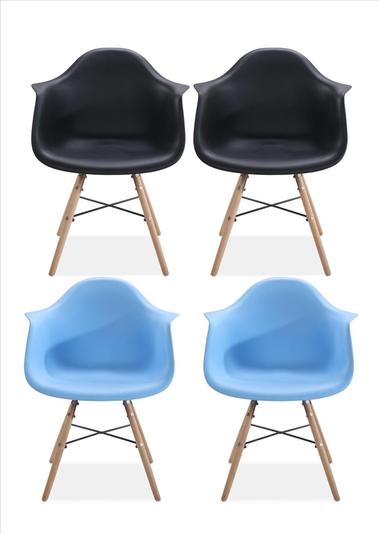 4 Jinx 2 Blue 2 Black Tub Eiffel Kitchen Dining Chair Vintage Bucket Plastic