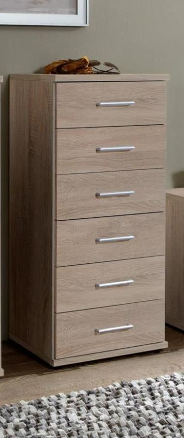 German Oskar Davos 6 drawer Tall Narrow Chest of Drawers in Oak