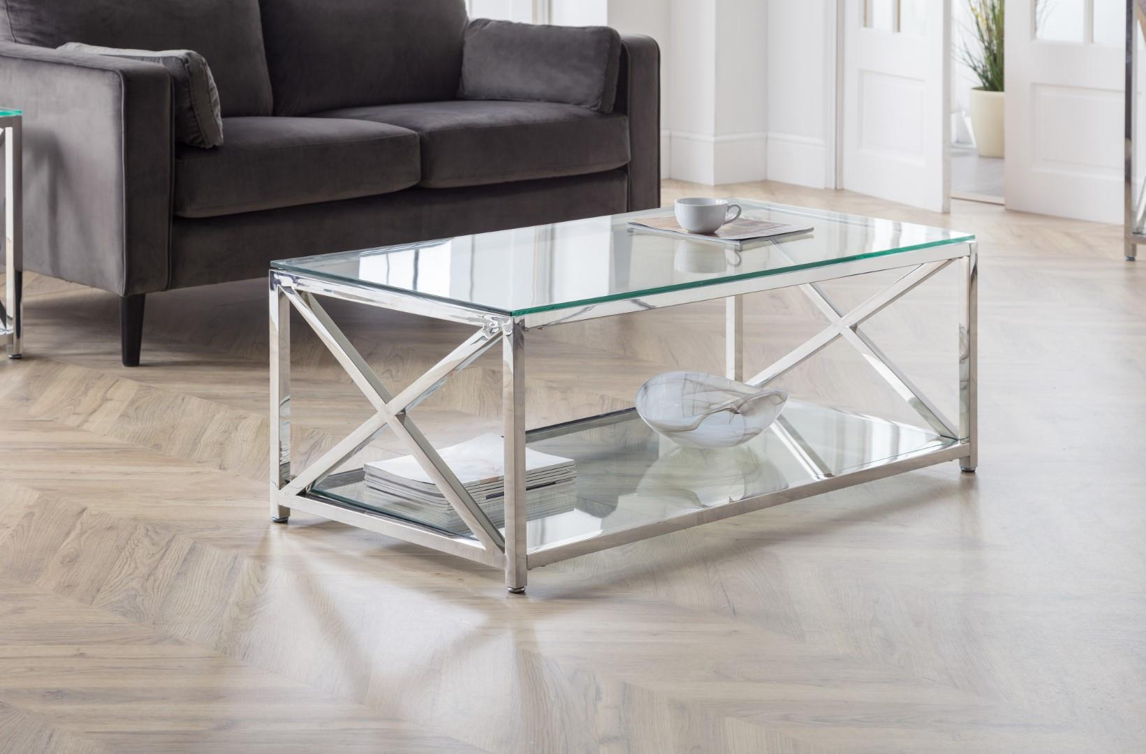 Julian Bowen Miami Rectangular Coffee Table Chrome Glass Modern Design