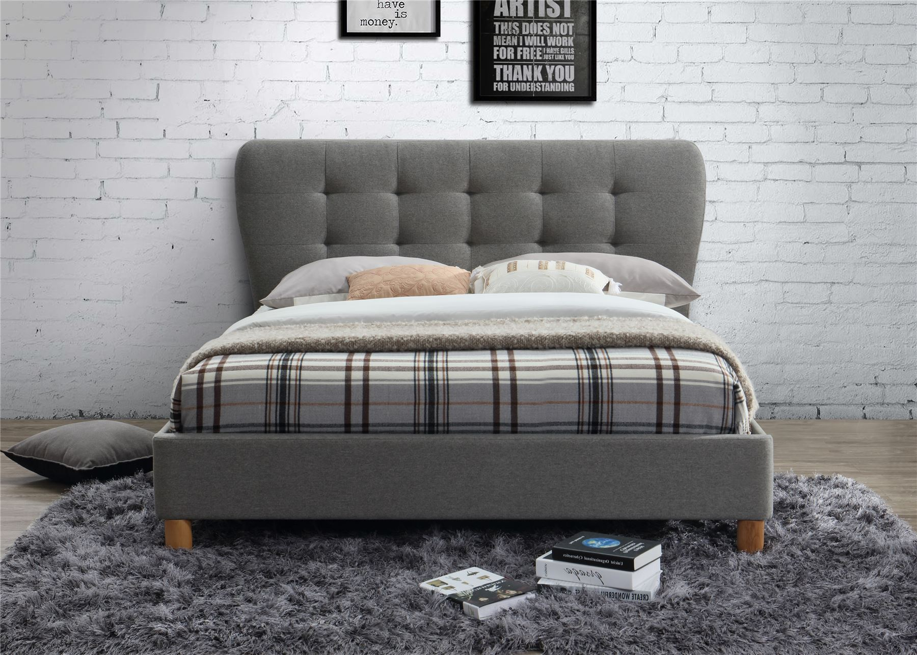 Birlea Stockholm Grey Fabric Upholstered Small Double Bed Frame 4FT 120cm