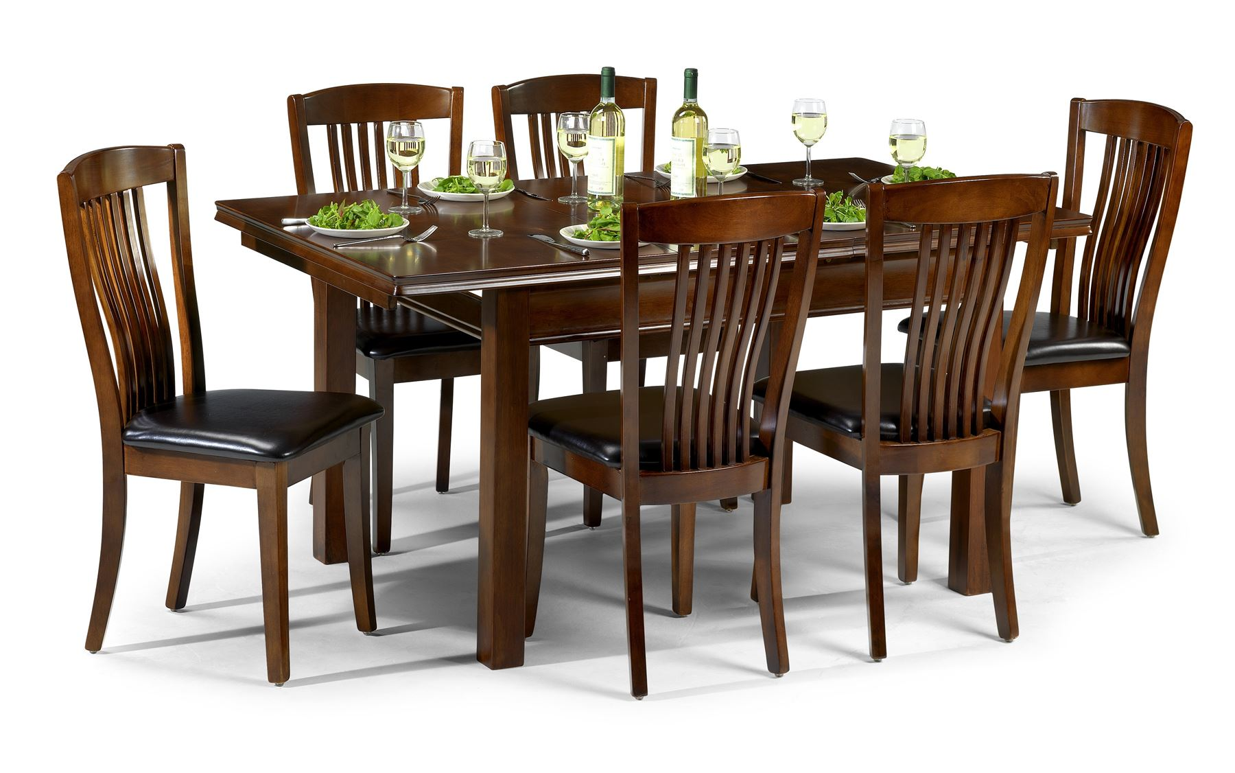 Julian Bowen Canterbury Solid Wood Mahogany Extending Dining Table 6 Chairs