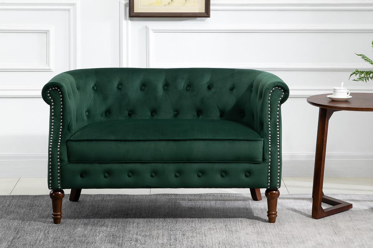 Birlea Freya 2 Seater Sofa Settee Green Velvet Fabric Chesterfield Design