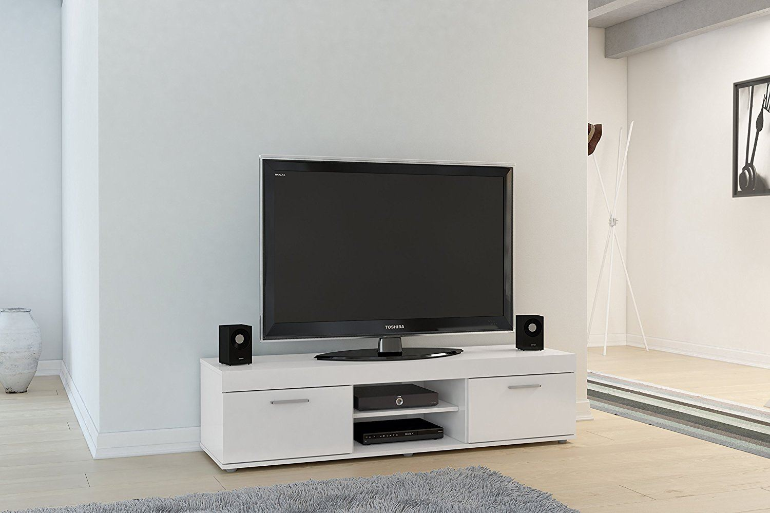 Birlea Edgeware TV Entertainment Unit White Gloss Living Room Stand Cabinet