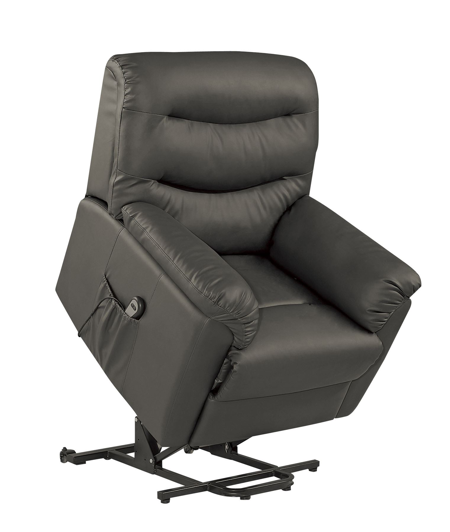 Birlea Regency Lift  Rise Electric Recliner Chair Upholstered Black Faux Leather