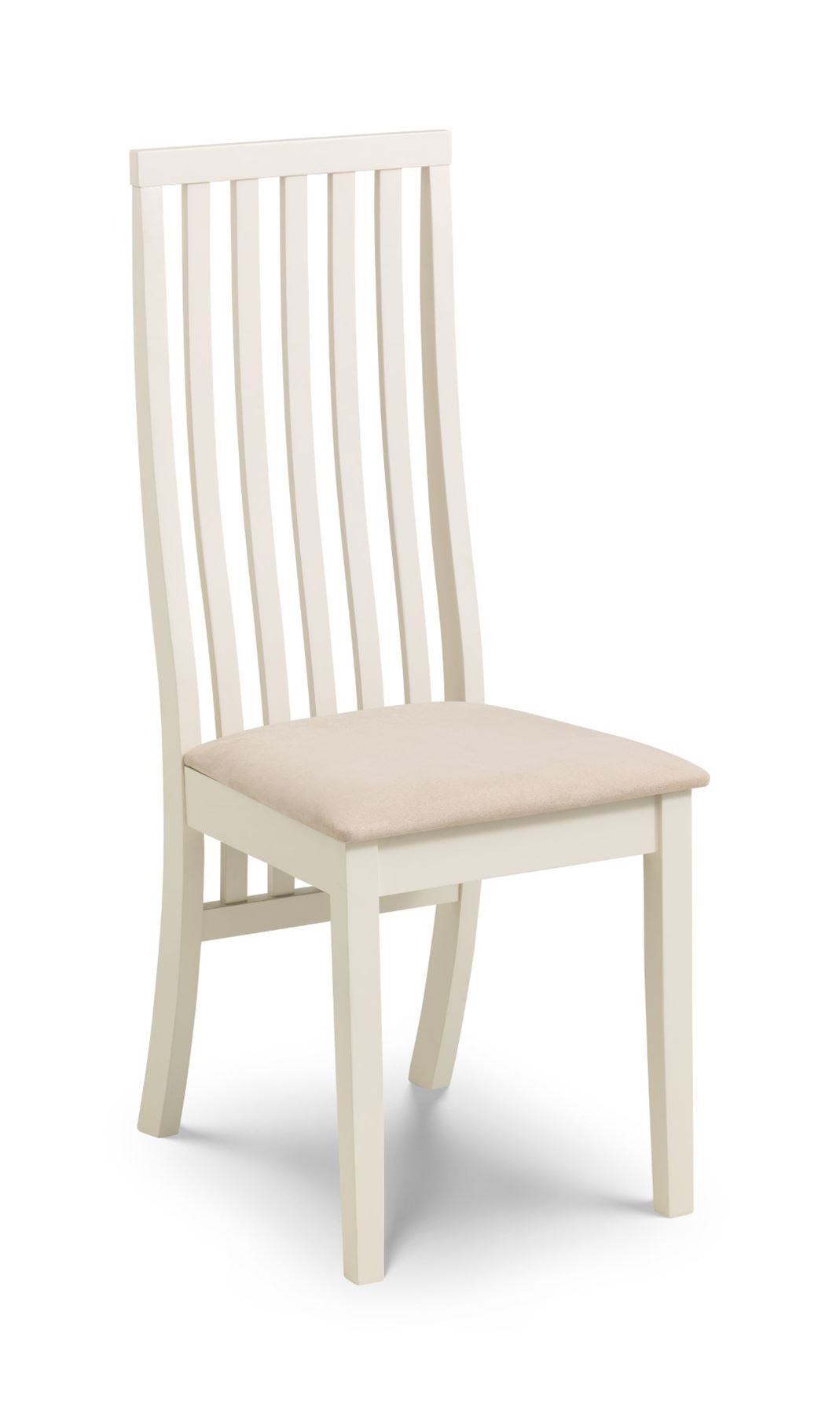 Julian Bowen Vermont Ivory Off White Solid Wood Dining Chair Faux Suede