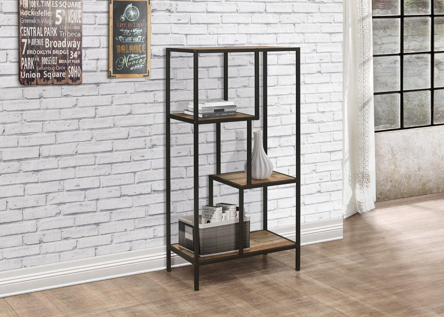 Birlea Urban Industrial Chic Medium Bookcase Shelving Unit Rustic Metal Wood