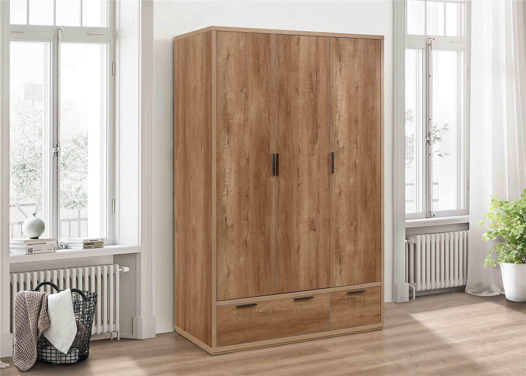 Birlea Stockwell Rustic Oak 3 Door 2 Drawer Wardrobe Urban Industrial design
