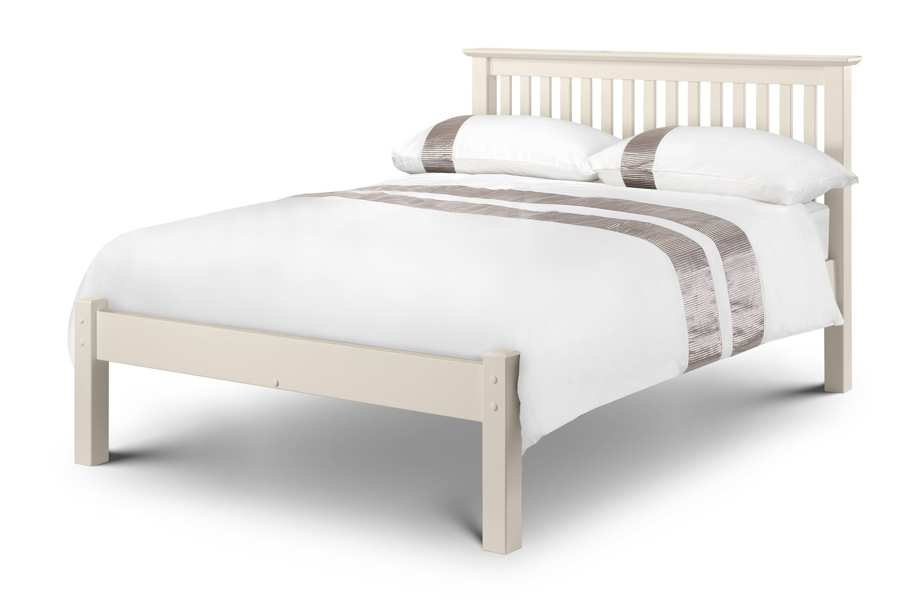 Julian Bowen Barcelona LFE Solid Wood Bed Frame 5FT King Size 150cm Stone White
