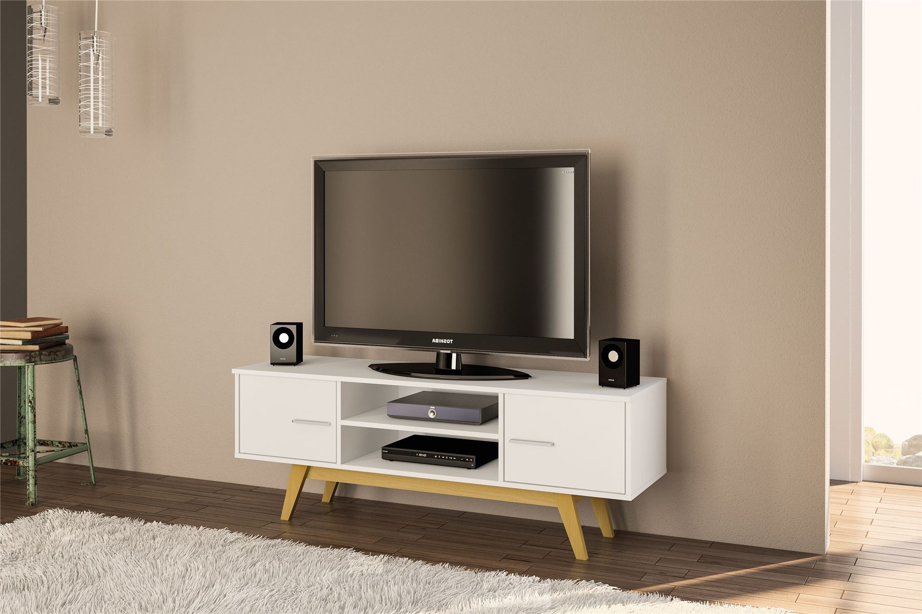 White Gloss Living Room Cupboard TV Entertainment Unit Stand Cabinet