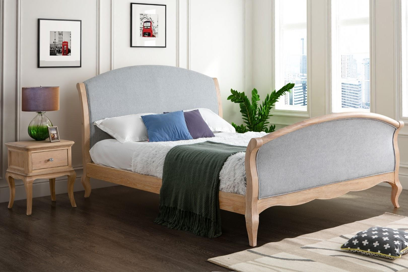 Birlea Savoy Solid Oak Wood Bed Frame Grey Fabric 4FT6 Double 135cm Bedstead