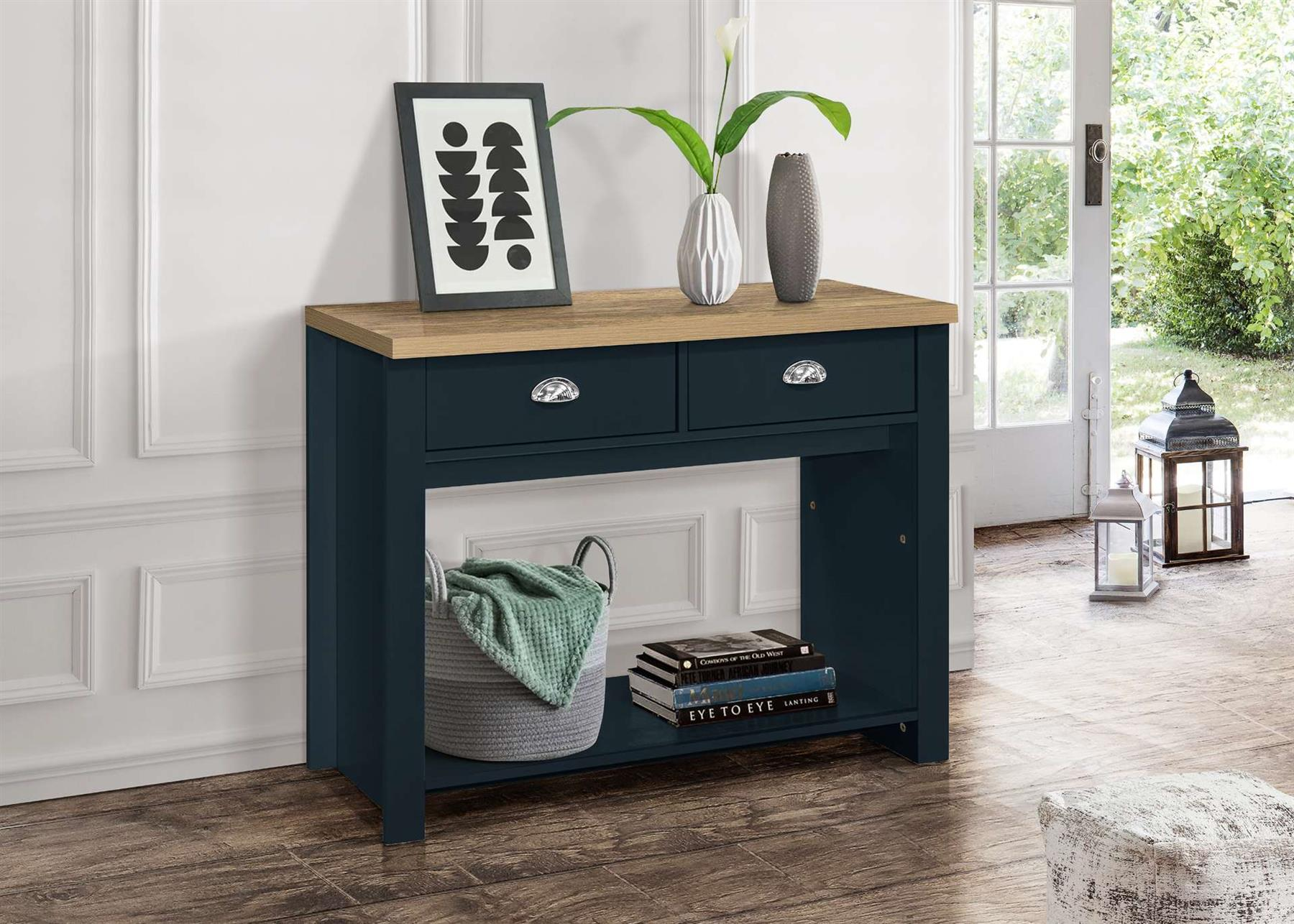 Birlea Highgate 2 Drawer Console Table Navy Blue & Oak Farmhouse Shabby Chic