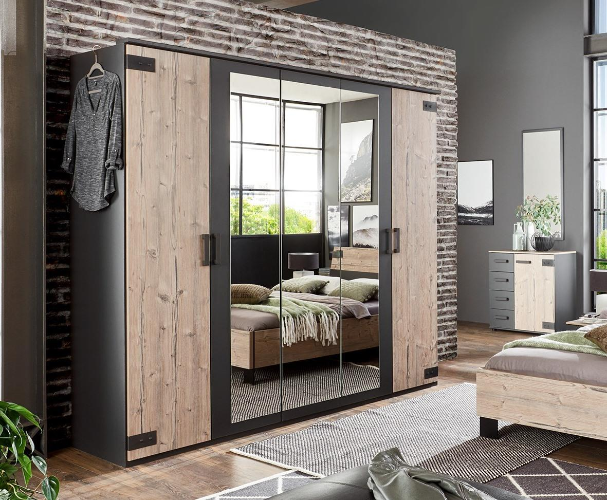 German Malmo Silver Oak Grey Industrial 5 Door 3 Mirror 225cm Wardrobe