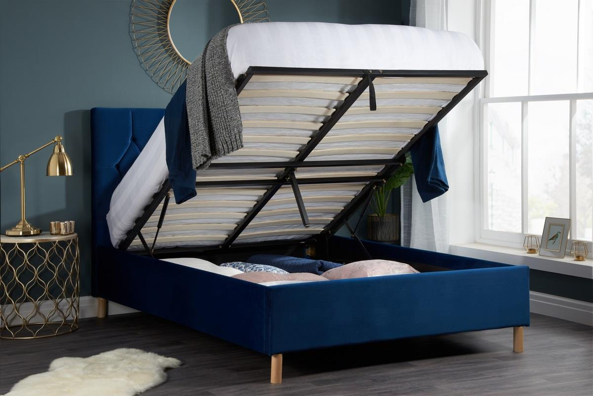 Birlea Loxley Ottoman Bed Frame 135cm Double 4ft6 Navy Blue Fabric Storage Www Robinsons Furniture