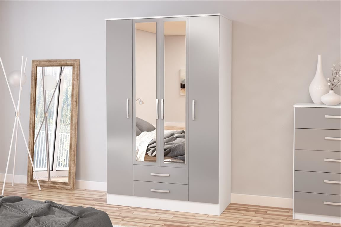 Birlea White Gloss & Grey Gloss Lynx 4 Door 2 Drawer Mirror Wadrobe Robe