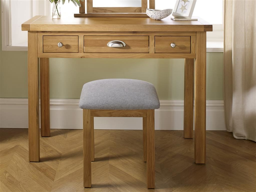 Birlea Woburn Dressing Table Stool Solid Oak Wood Traditional