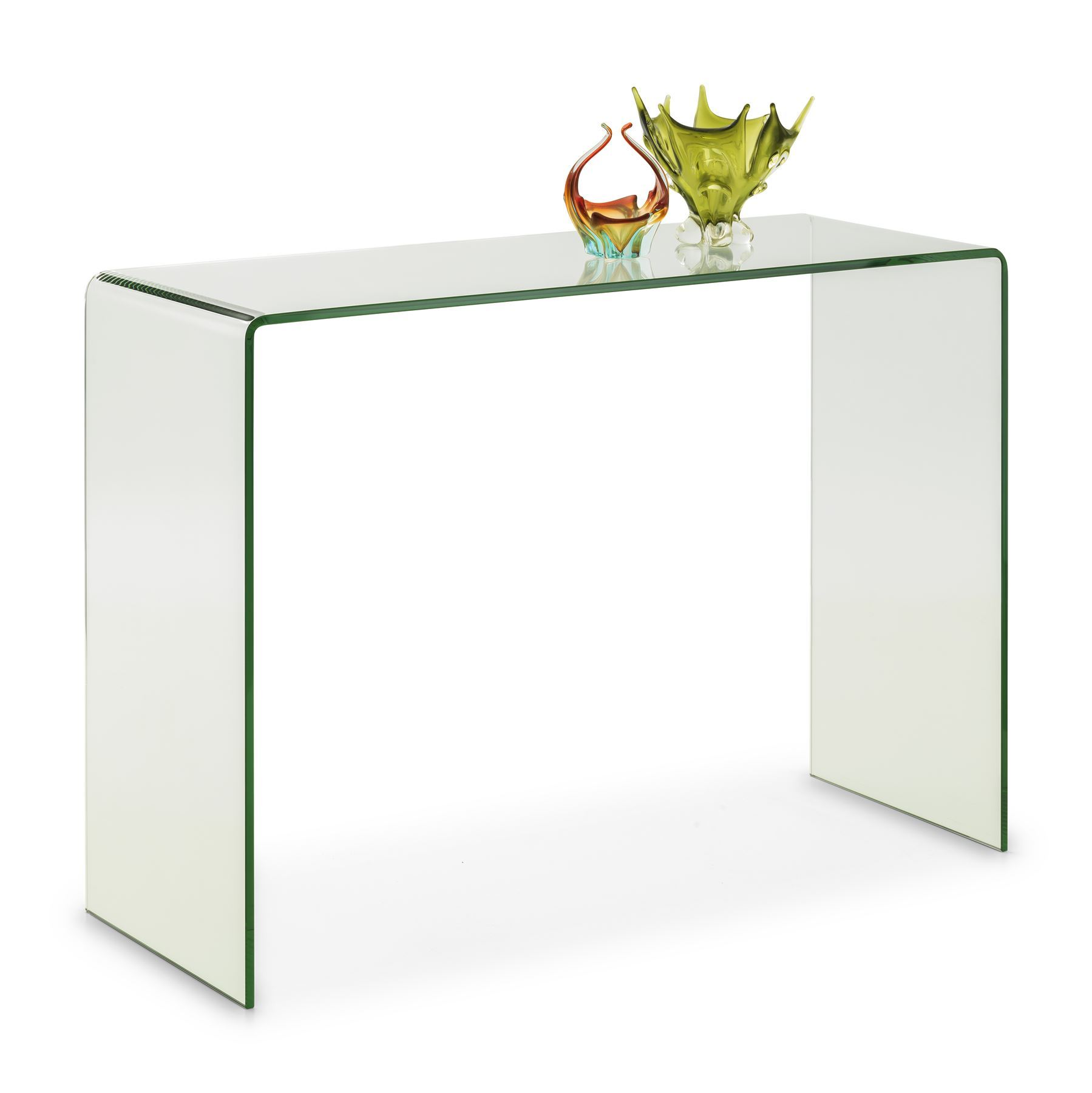 Julian Bowen Amalfi Designer Bent Clear Safety Glass Console Hall Table