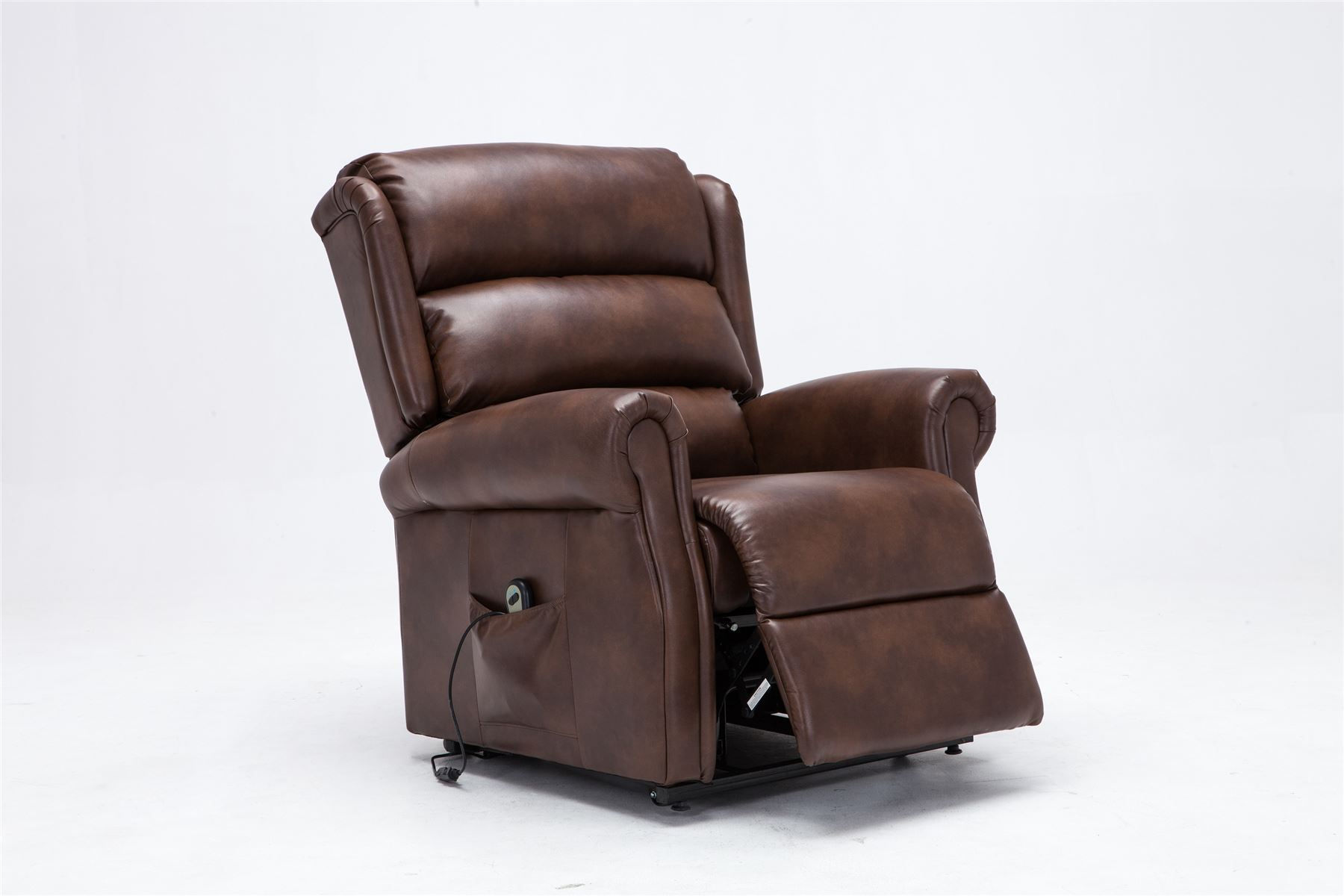 Birlea Manhattan Electric Recliner Rise & Reclining Arm Chair Brown Faux Leather