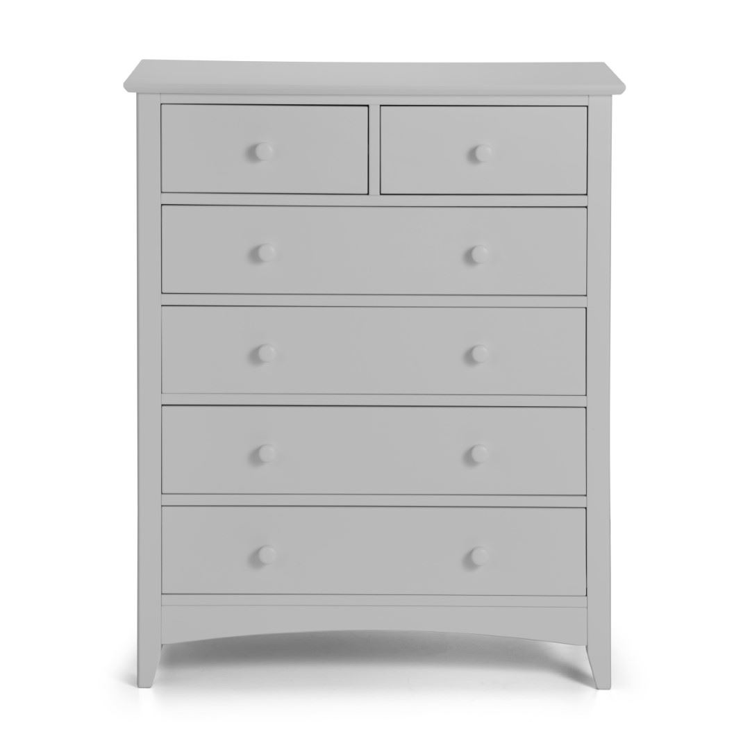 Julian Bowen Cameo Dove Grey Wood 4+2 Drawer Large Chest of Drawers
