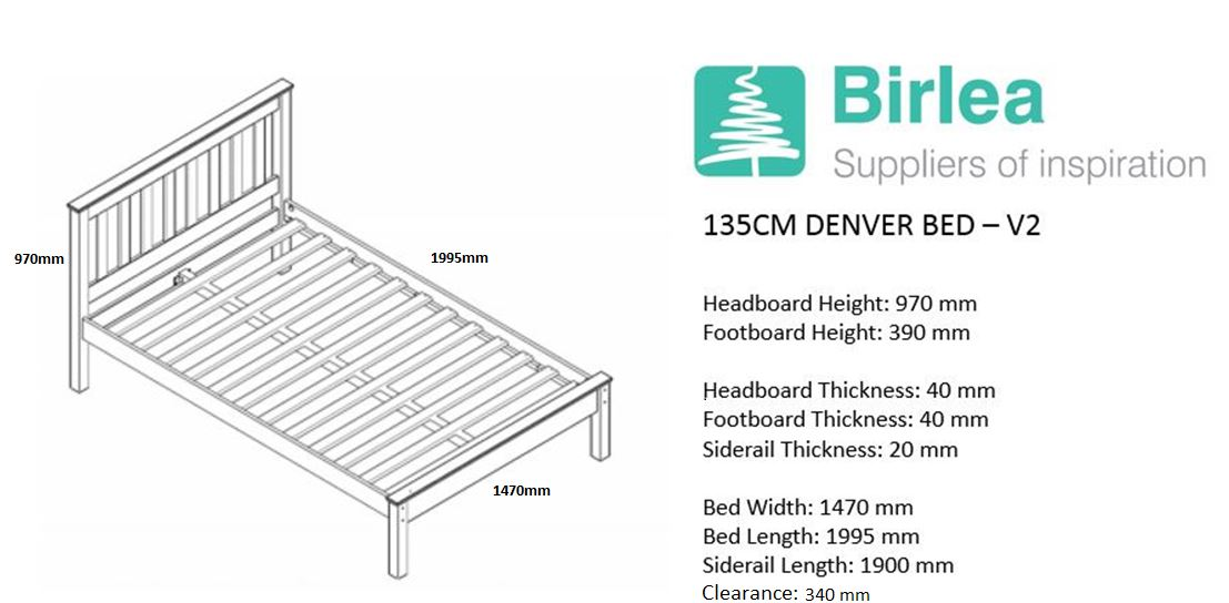 Birlea Denver Double Bed Frame Solid 135cm 4FT6 Antique Pine Wood Shaker Style