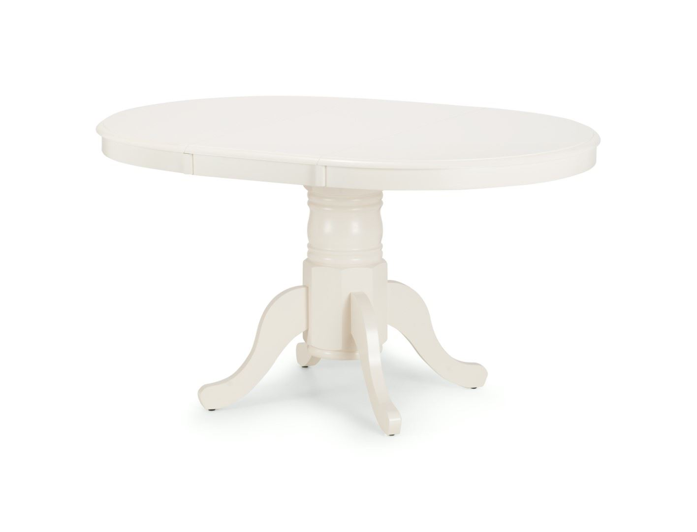 Julian Bowen Stanmore Ivory Solid Round Extending Dining Table Wood Pedestal