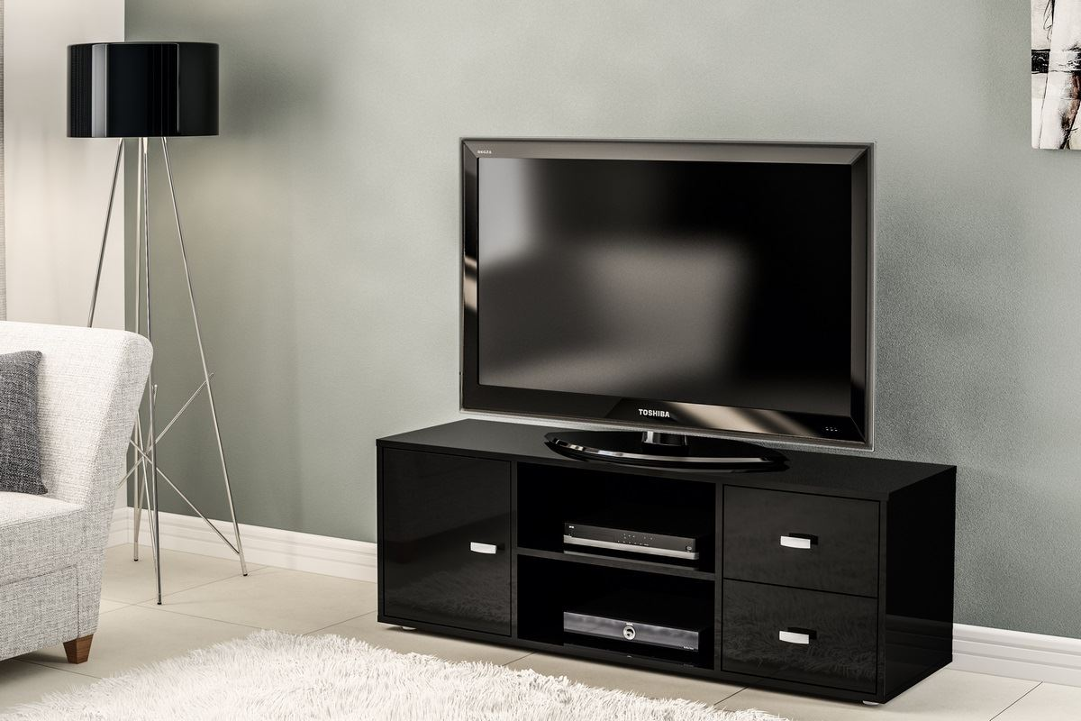 Birlea Covent Wide TV Entertainment Unit Black Gloss Stand Cabinet