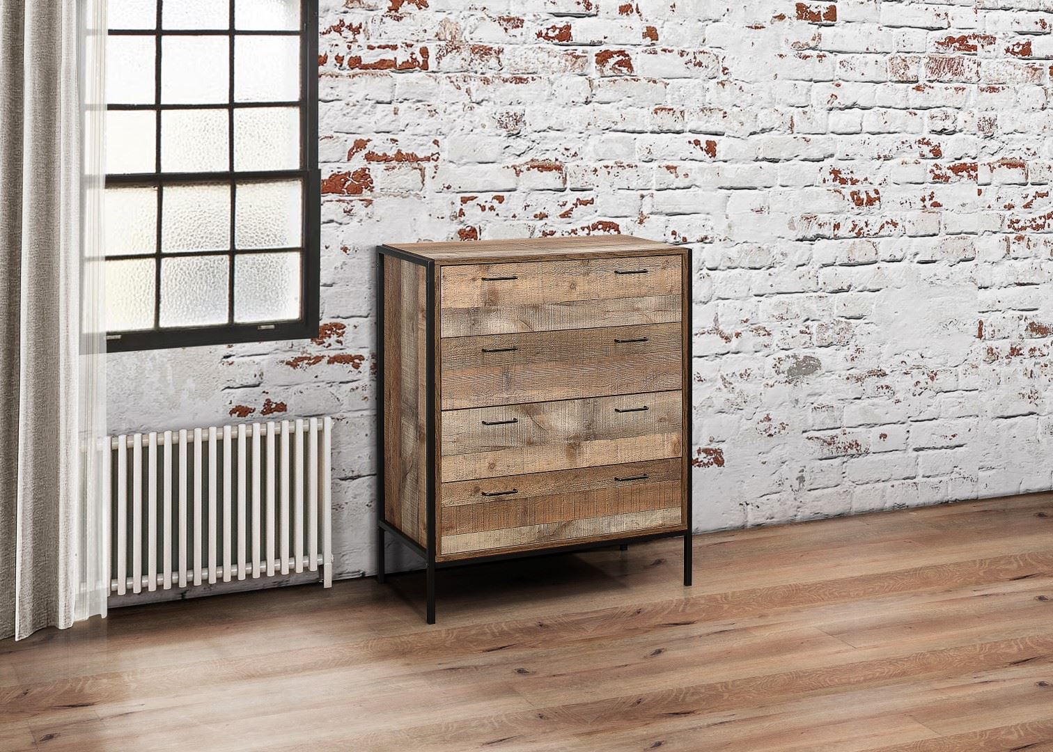 Birlea Urban Industrial Chic 4 Drawer Medium Chest Wood Metal