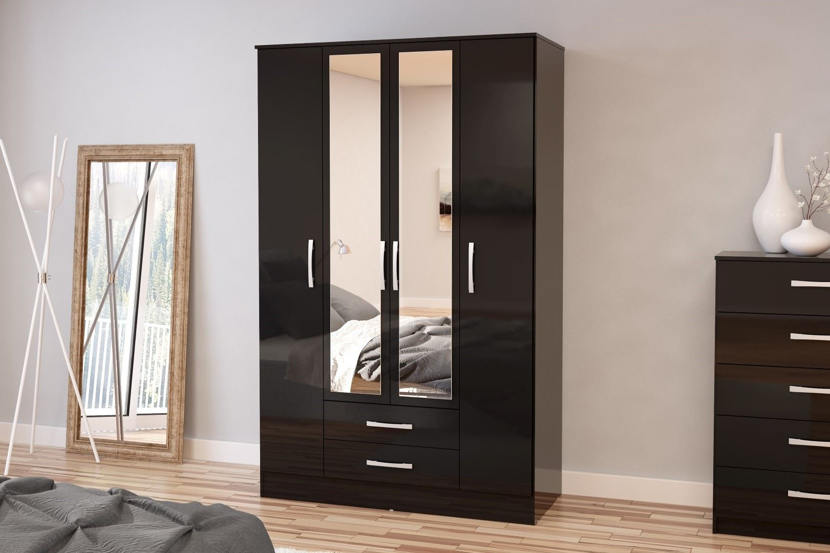 Birlea Lynx High Gloss All Black 4 door Mirror 2 drawer bedroom wardrobe new
