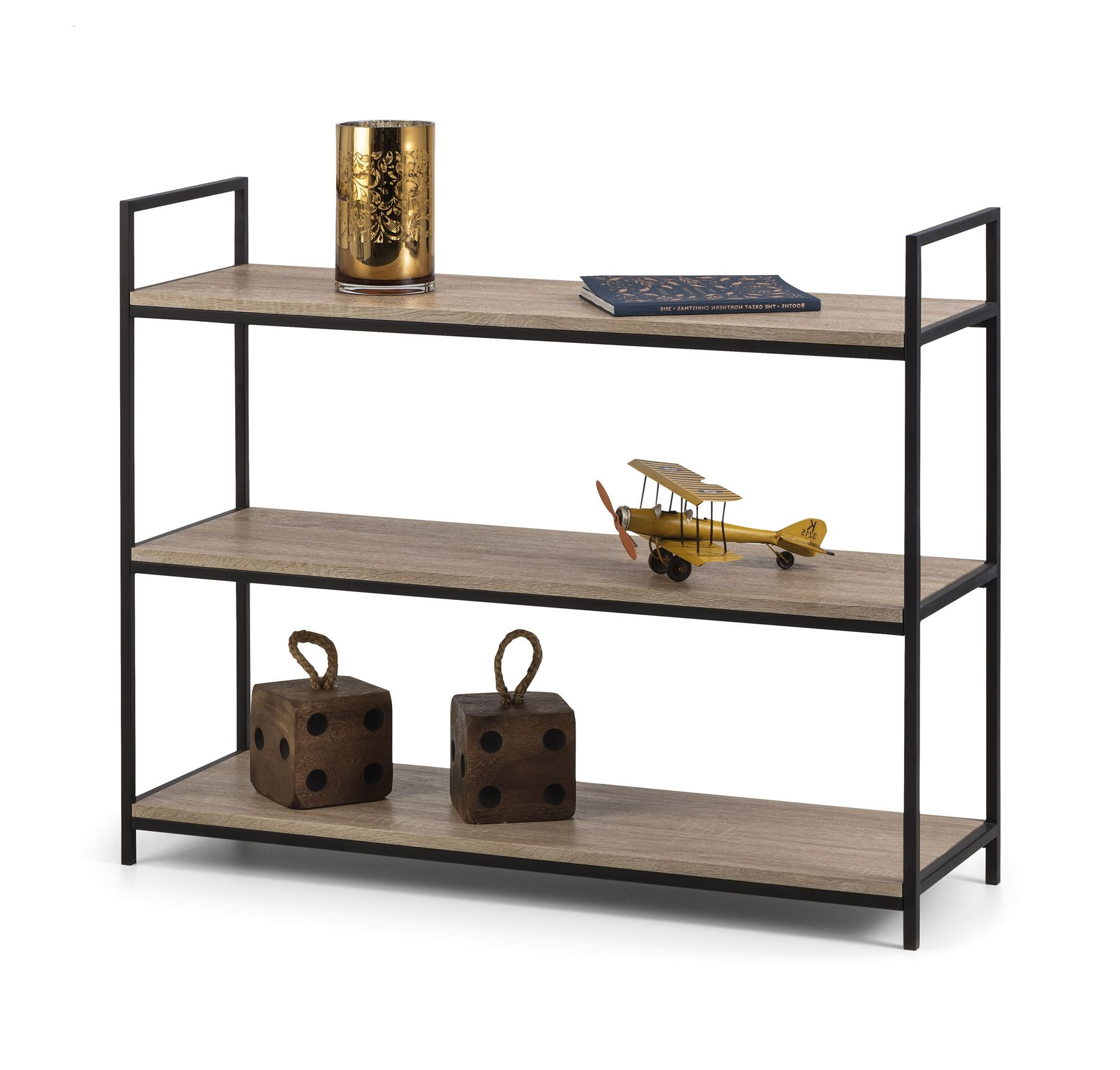 Julian Bowen Tribeca Black Metal & Oak Industrial Steel Low Bookcase Shelves