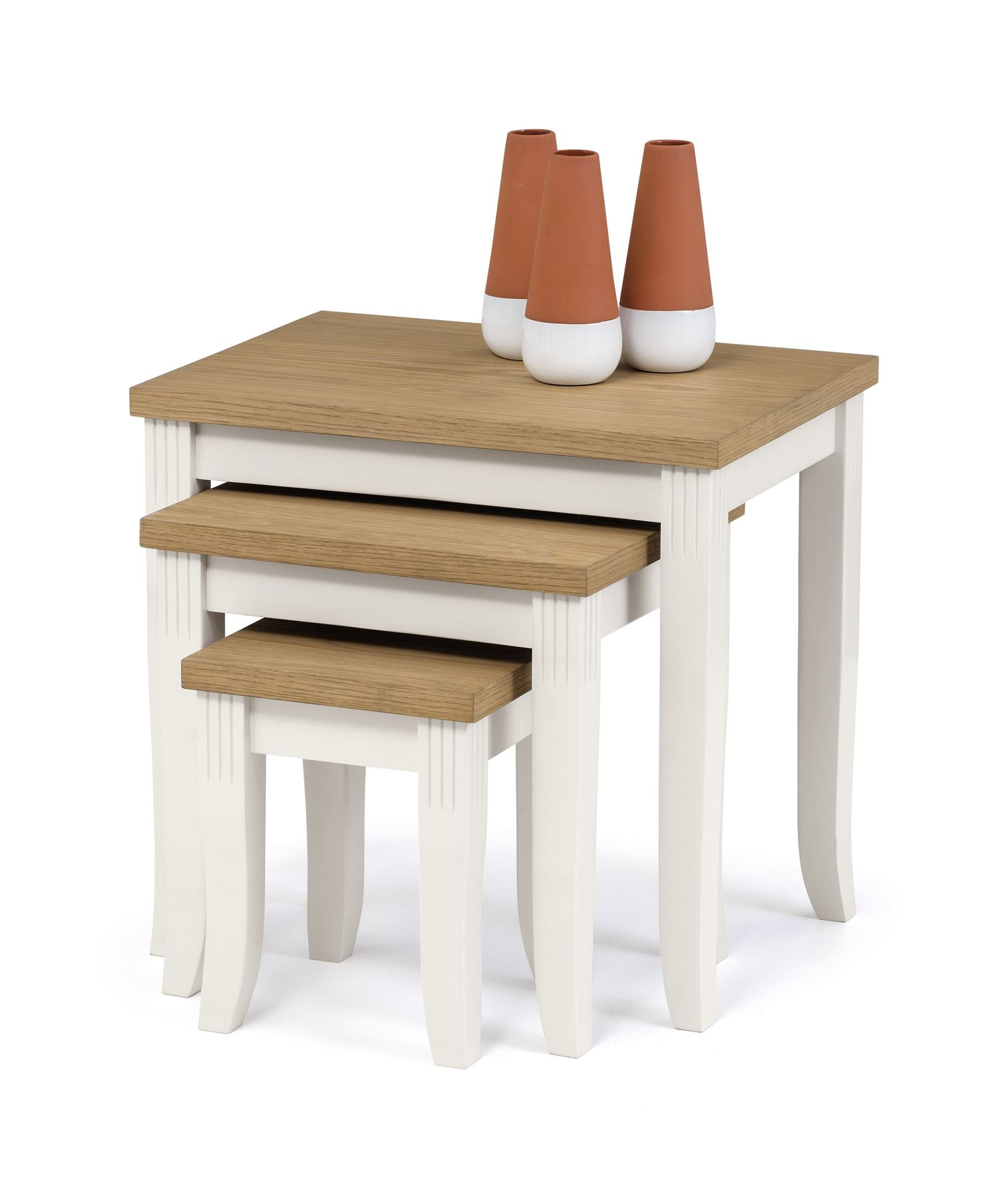 Julian Bowen Davenport Oak Ivory Nested Nest of 3 Tables Solid Wood